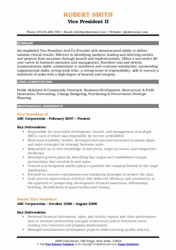 Vice President II Resume Format