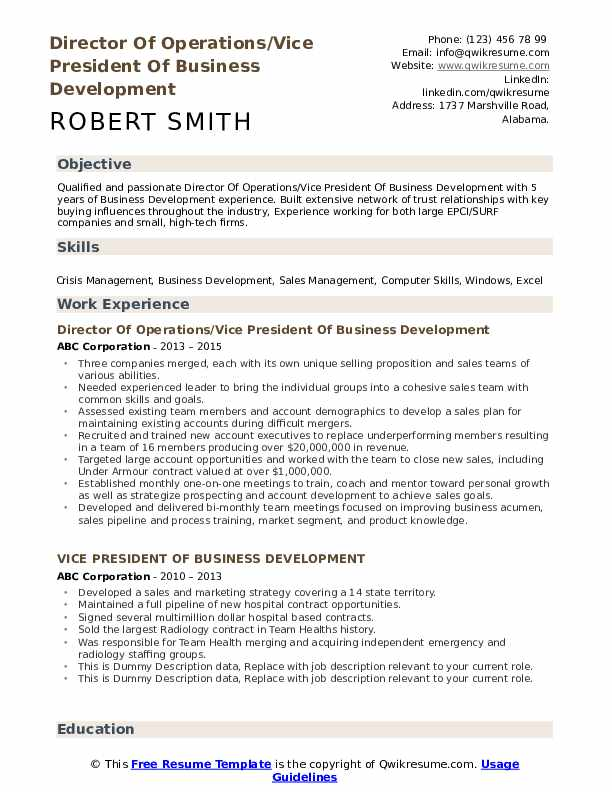 vice president of business development resume samples