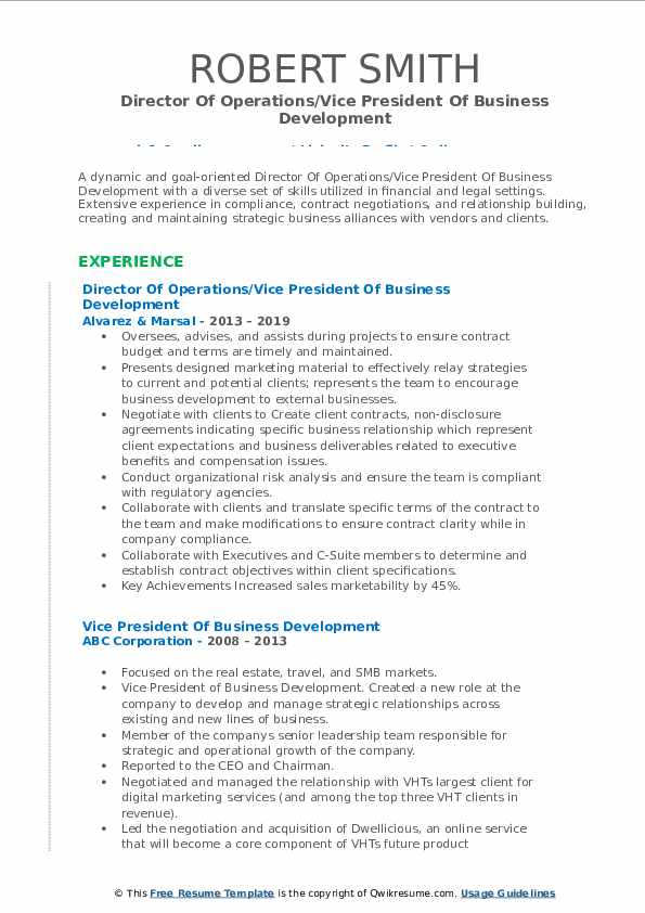 Director Of Operations/Vice President Of Business Development Resume Format