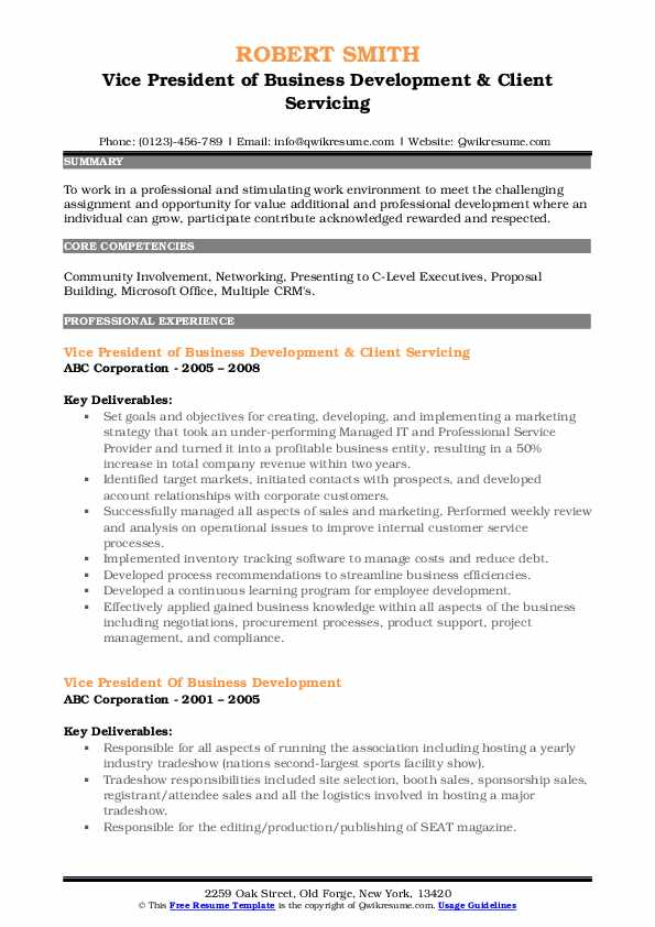 Vice President of Business Development & Client Servicing Resume Format