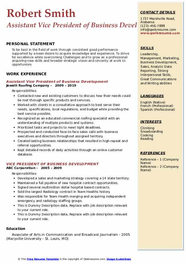 Assistant Vice President of Business Development Resume Template