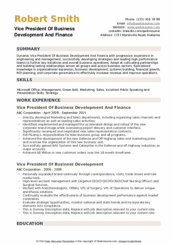 Vice President Of Business Development And Finance Resume Sample