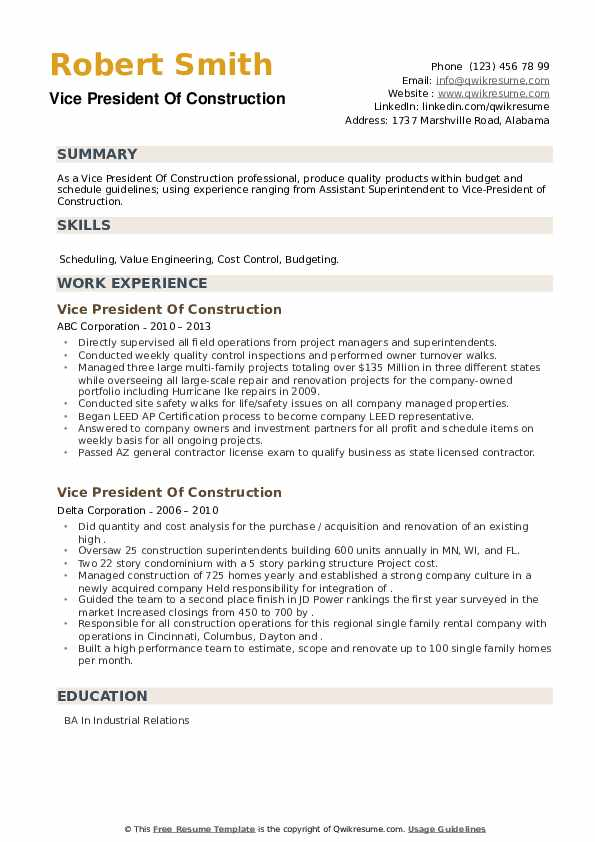 Vice President Of Construction Resume example