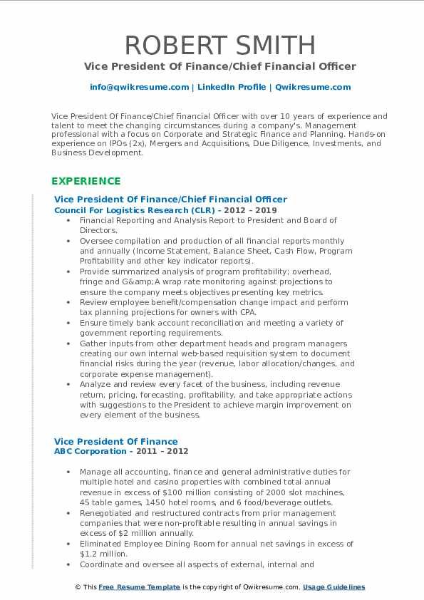 Vice President Of Finance/Chief Financial Officer Resume Template