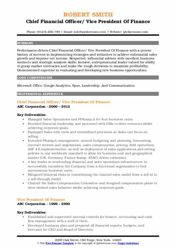 Chief Financial Officer/ Vice President Of Finance Resume Template