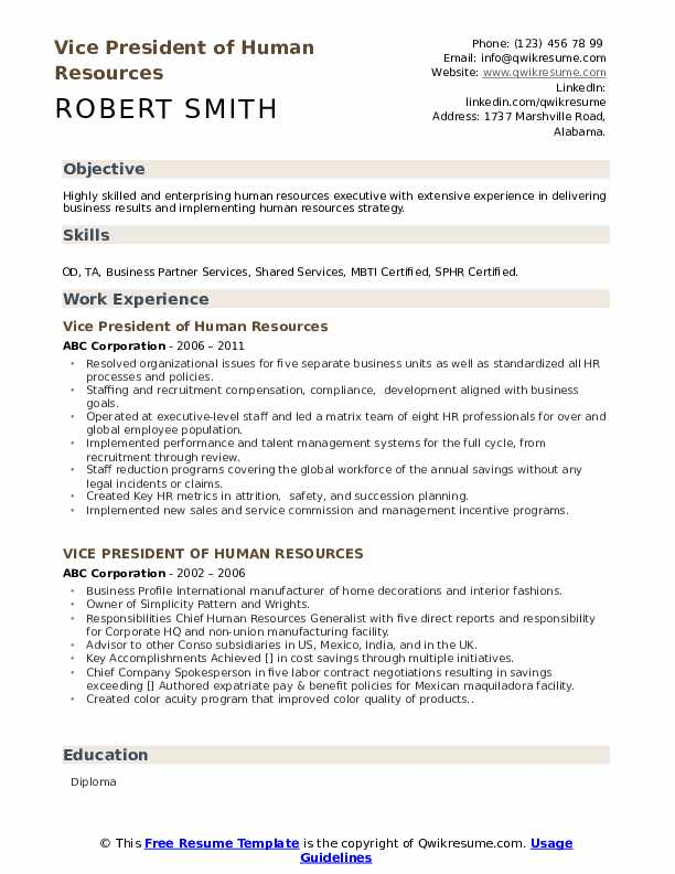 Vice President Of Human Resources Resume Samples | QwikResume
