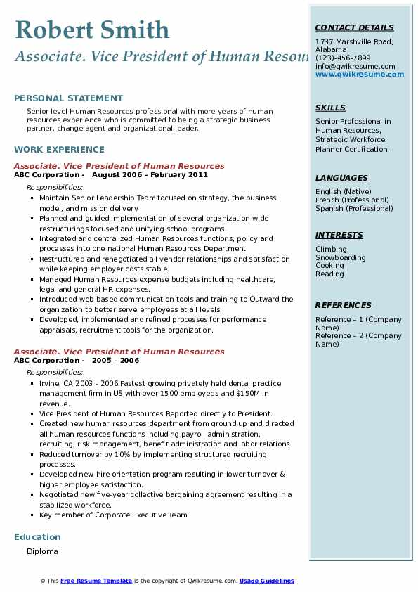 vice president of human resources resume samples