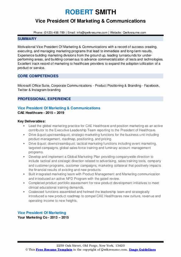 Vice President Of Marketing & Communications Resume Example