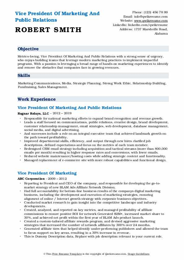 Vice President Of Marketing And Public Relations Resume Sample
