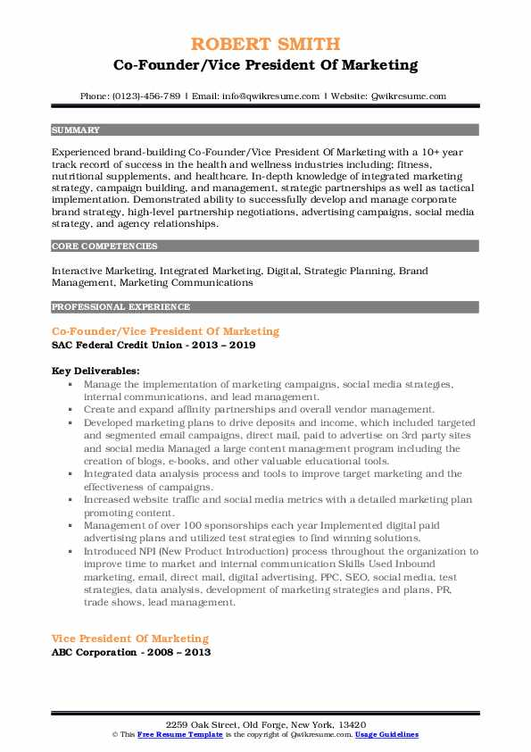vice president of marketing resume samples