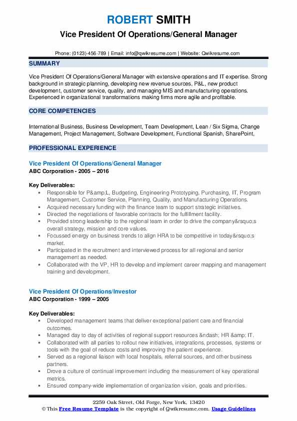 Vice President Of Operations/General Manager Resume Example
