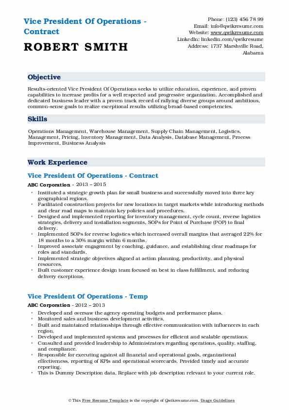 Vice President Of Operations - Contract Resume Example