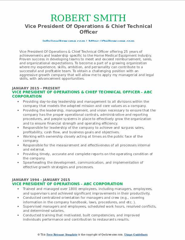 Vice President Of Operations & Chief Technical Officer Resume Model