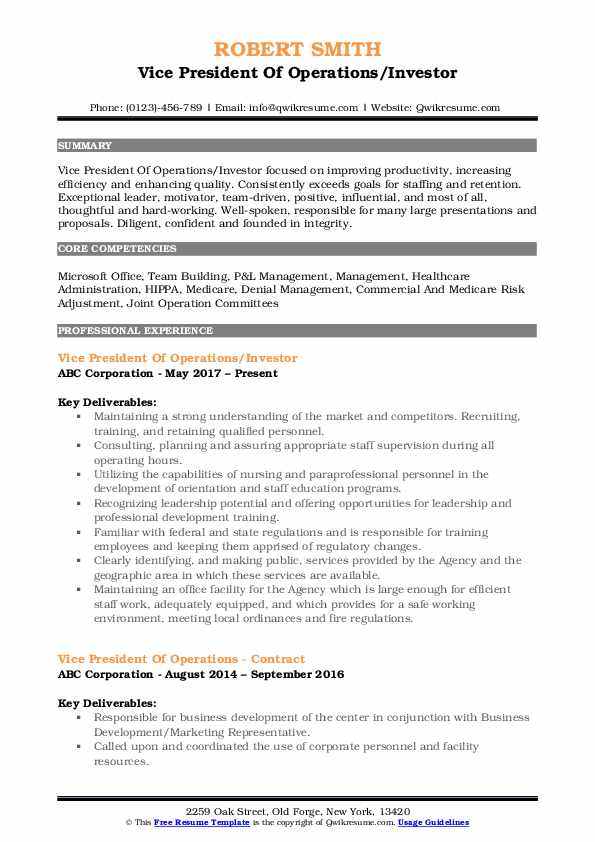 Vice President Of Operations/Investor Resume Model