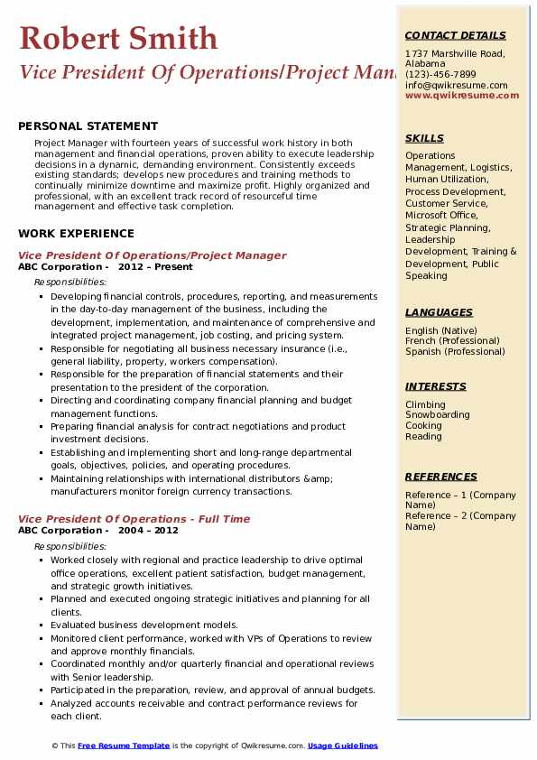 Vice President Of Operations/Project Manager Resume Sample