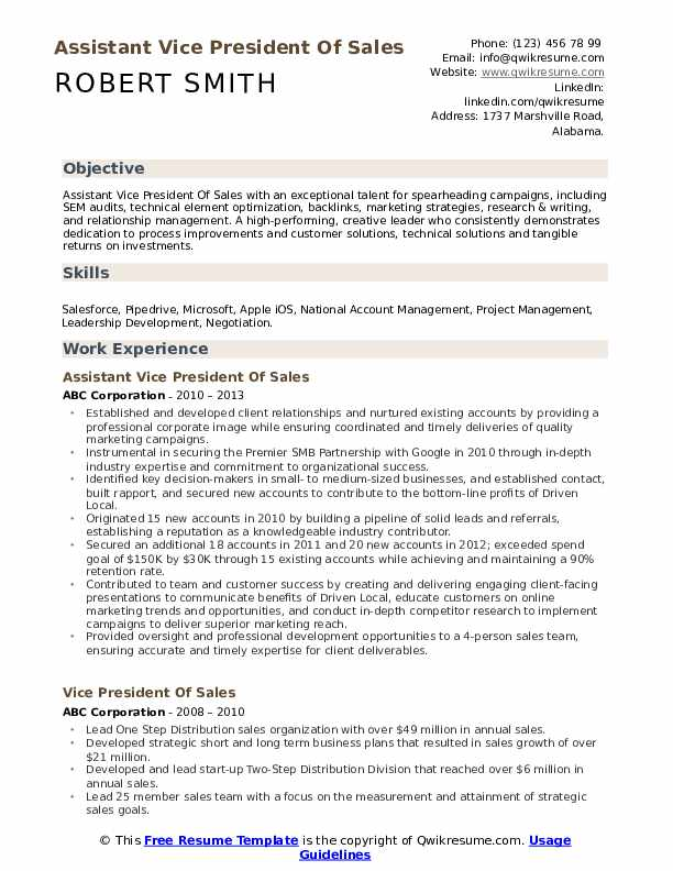 Assistant Vice President Of Sales Resume Model