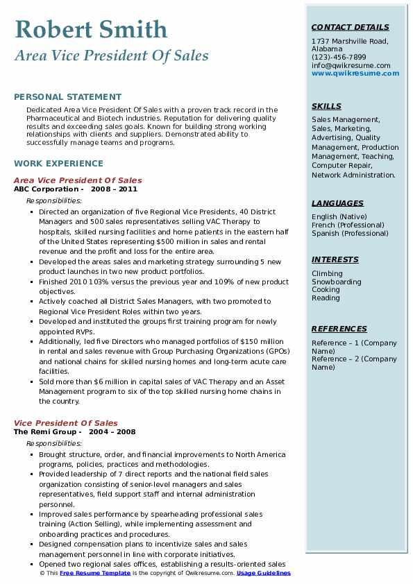 Area Vice President Of Sales Resume Sample