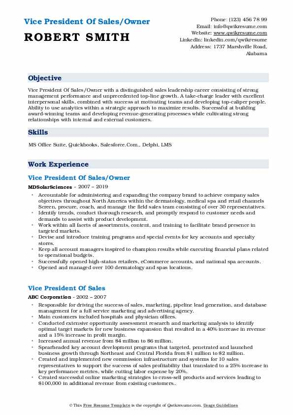 Vice President Of Sales/Owner Resume Example