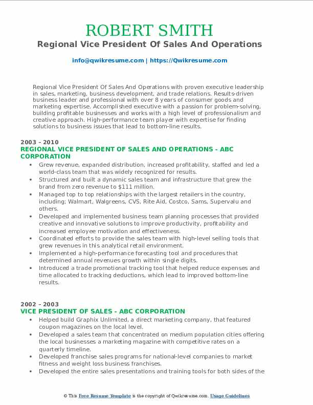 Regional Vice President Of Sales And Operations Resume Template
