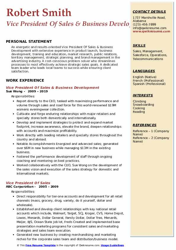 Vice President Of Sales & Business Development Resume Example