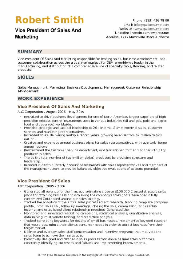 vice president of sales resume samples