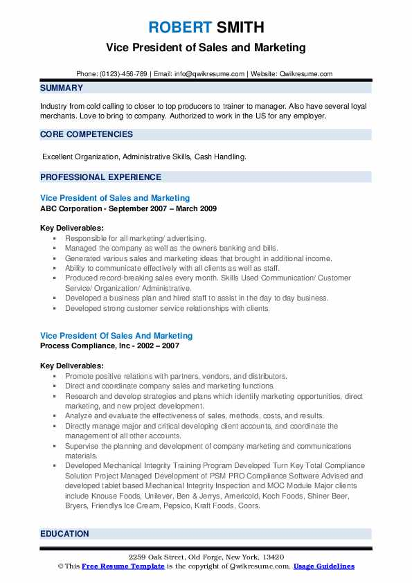 vice president of sales and marketing resume samples