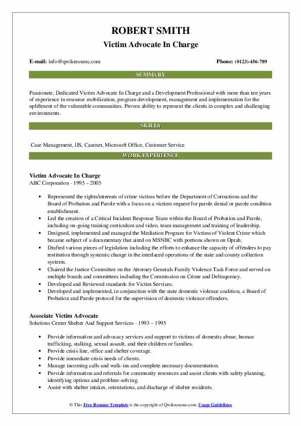 Victim Advocate In Charge Resume Template