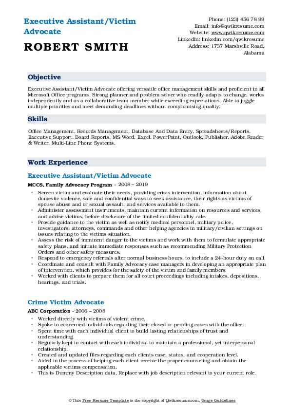 Executive Assistant/Victim Advocate Resume Sample