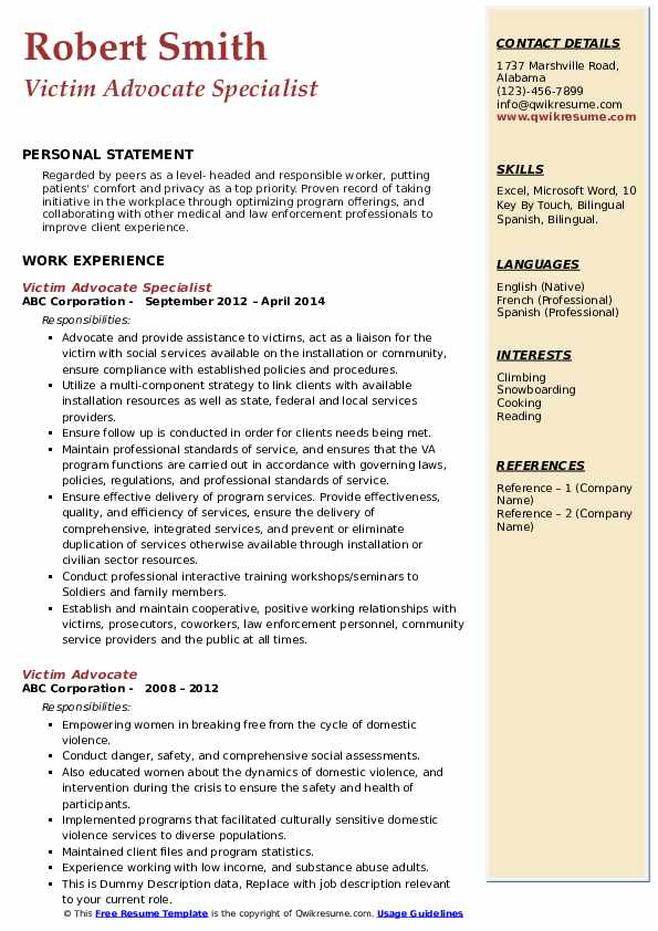 Victim Advocate Resume Samples Qwikresume