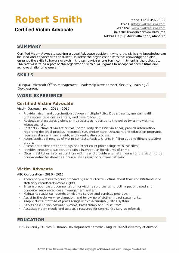 Certified Victim Advocate Resume Template