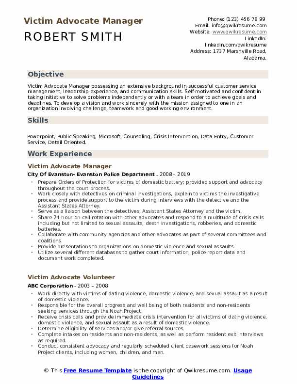 Victim Advocate Manager Resume Format