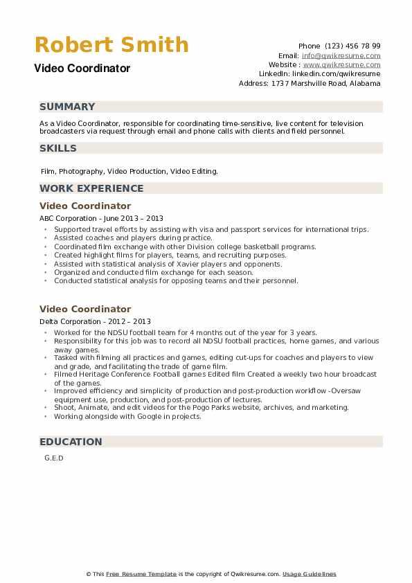 Video Coordinator Resume example