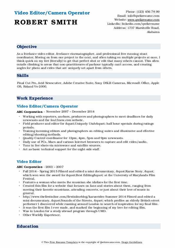 Video Editor/Camera Operator Resume Format