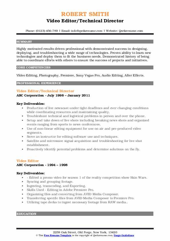 Video Editor Resume Samples | QwikResume