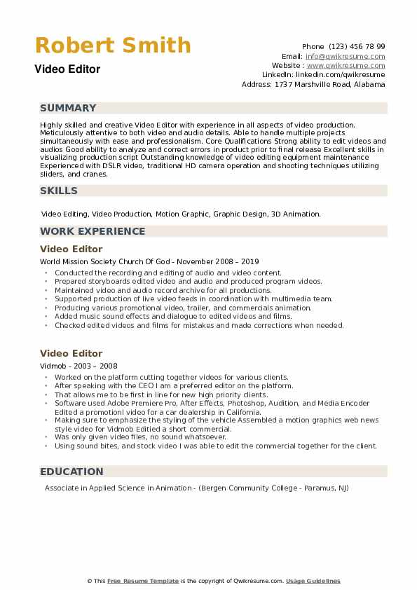 video editor resume samples