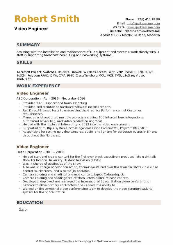 Video Engineer Resume example