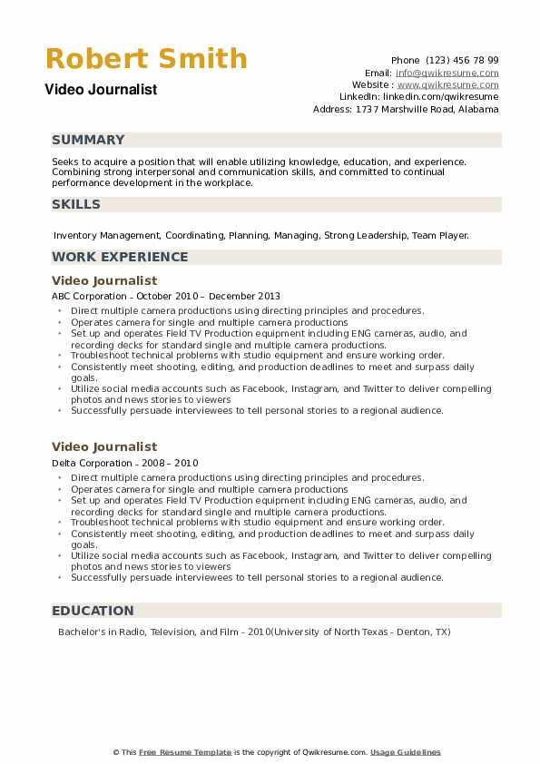 Video Journalist Resume example