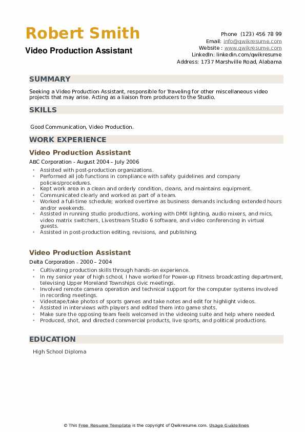 Video Production Assistant Resume example