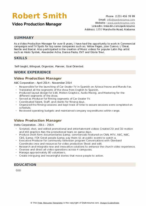 Video Production Manager Resume example