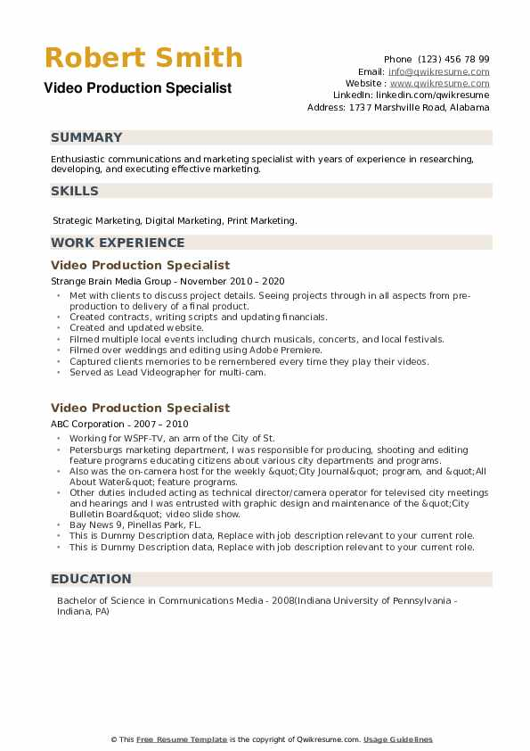Video Production Specialist Resume example