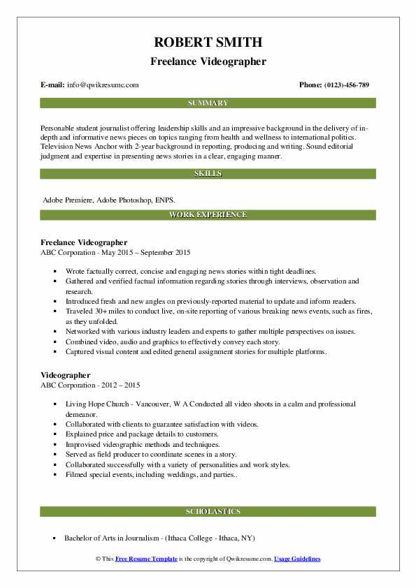 Freelance Videographer Resume Template