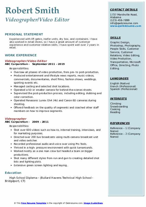 Videographer/Video Editor Resume Format