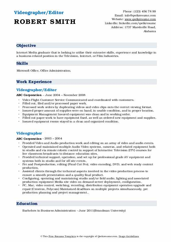 Videographer/Editor Resume Template