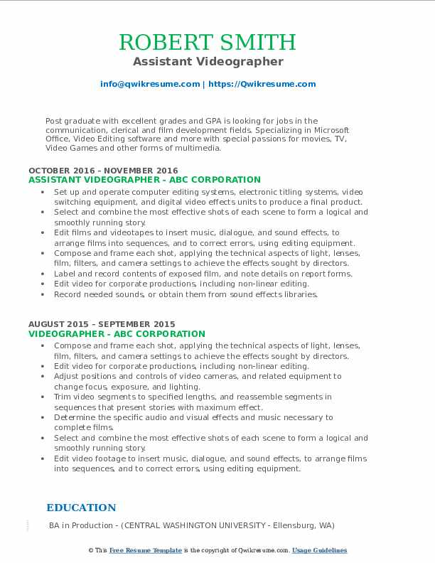 Assistant Videographer Resume Model
