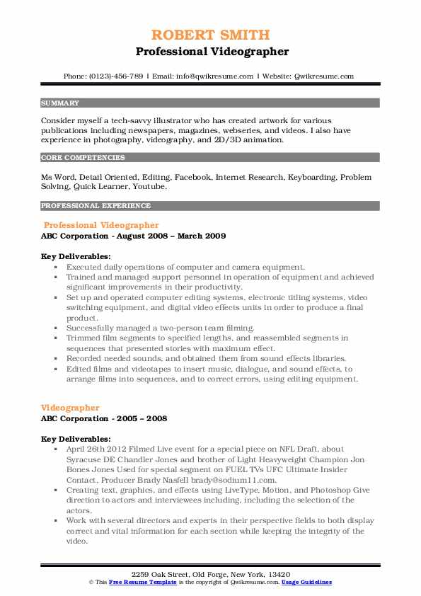 Professional Videographer Resume Example