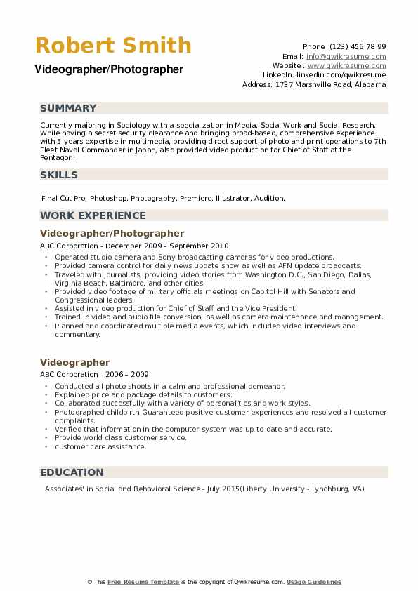 Videographer/Photographer  Resume Template