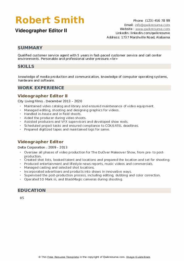 Videographer Editor Resume example