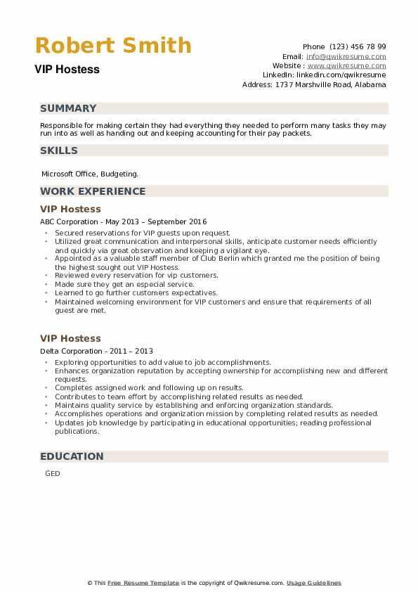 VIP Hostess Resume example