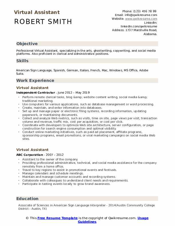 Virtual Assistant Resume Sample
