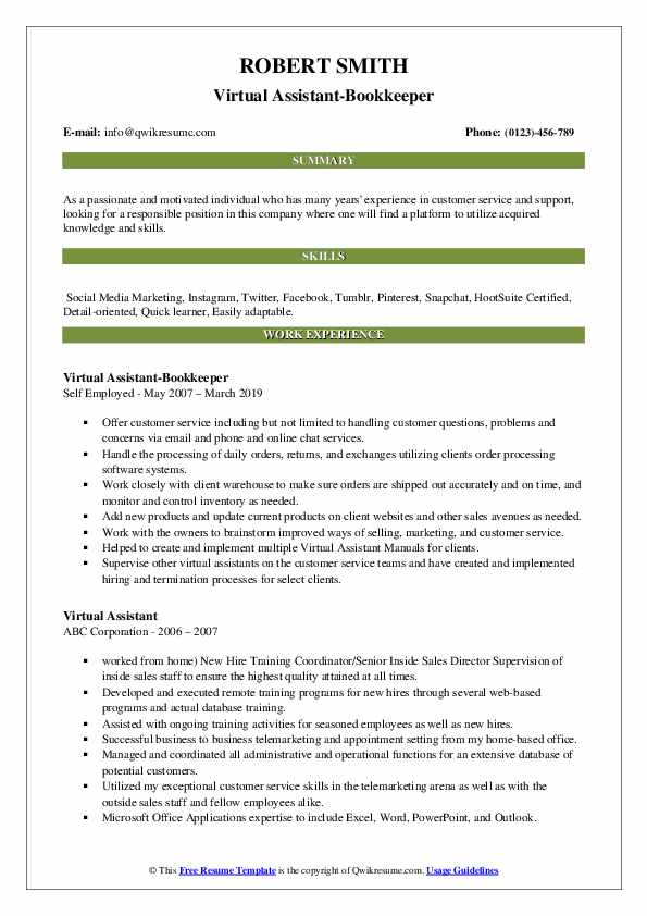 Virtual Assistant-Bookkeeper Resume Example